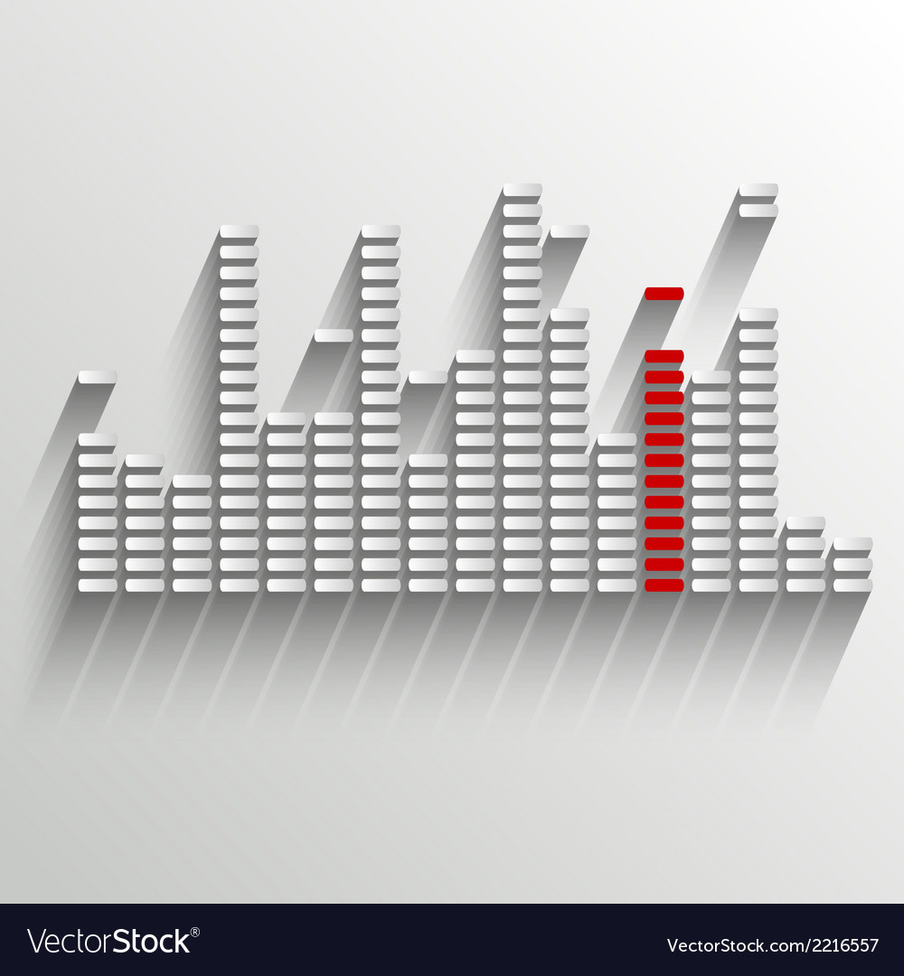 Equalizer on white with red strip vector | Price: 1 Credit (USD $1)