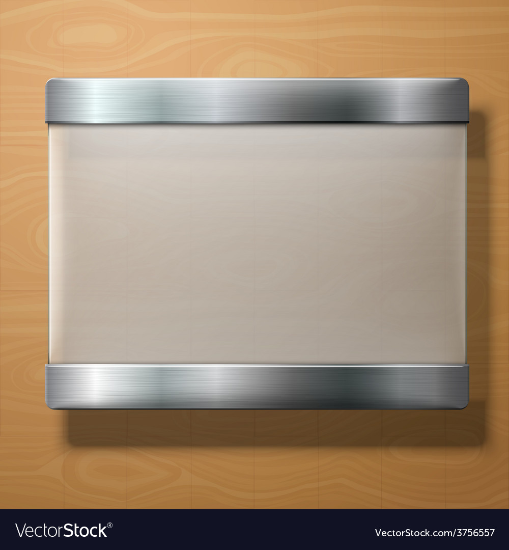 Frosted glass plate with metal holders on vector | Price: 1 Credit (USD $1)