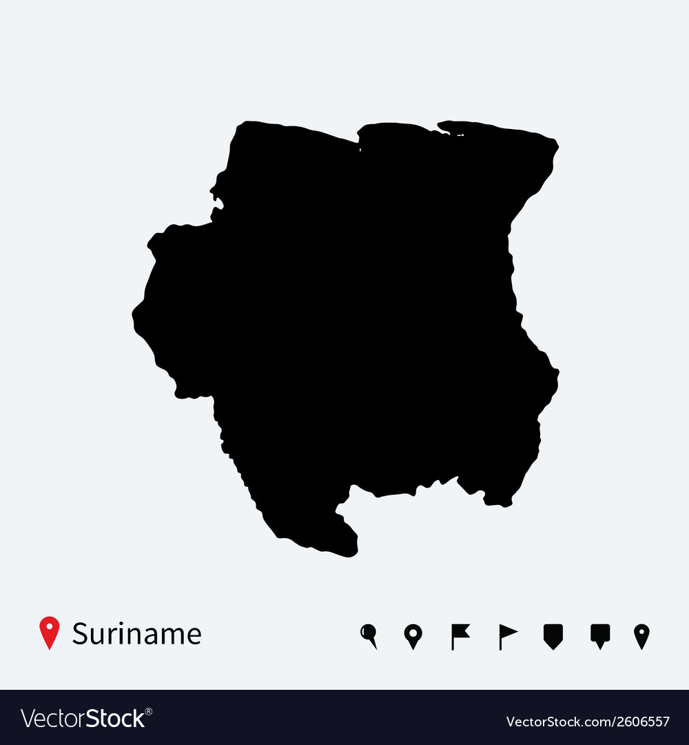 High detailed map of suriname with navigation pins vector | Price: 1 Credit (USD $1)