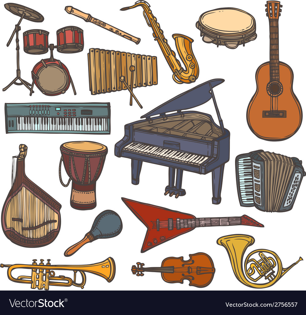Musical instruments sketch icon vector | Price: 1 Credit (USD $1)