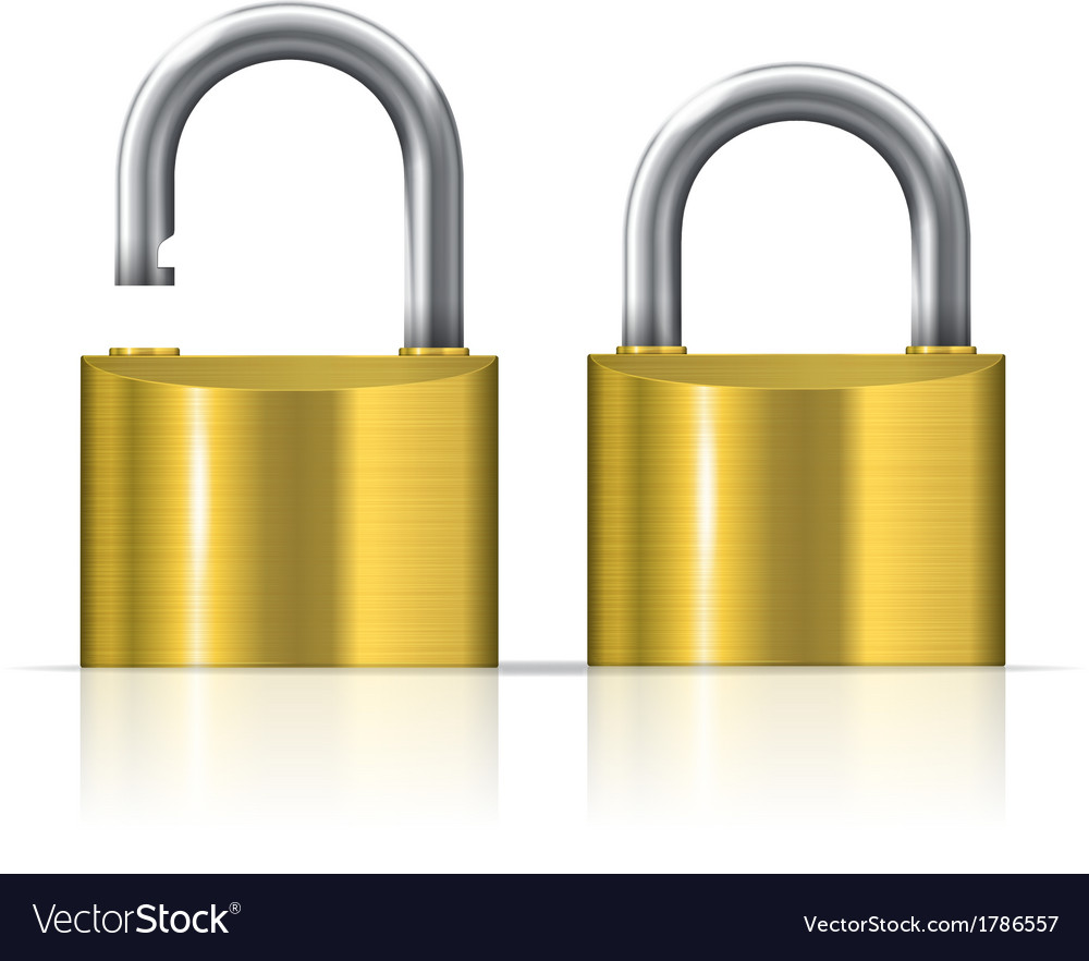 Open and closed padlocks vector | Price: 1 Credit (USD $1)