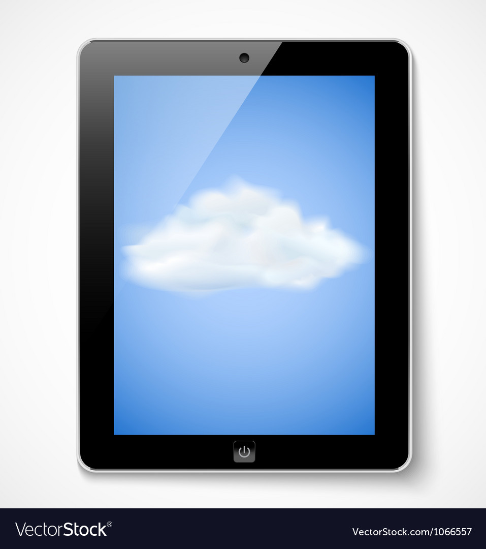 Tablet computer with cloud icon vector | Price: 1 Credit (USD $1)