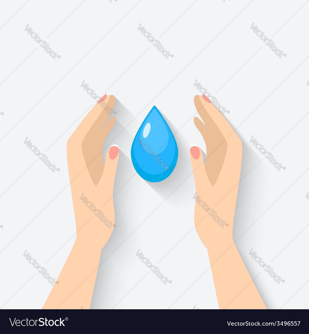 Water drop in hands symbol vector | Price: 1 Credit (USD $1)