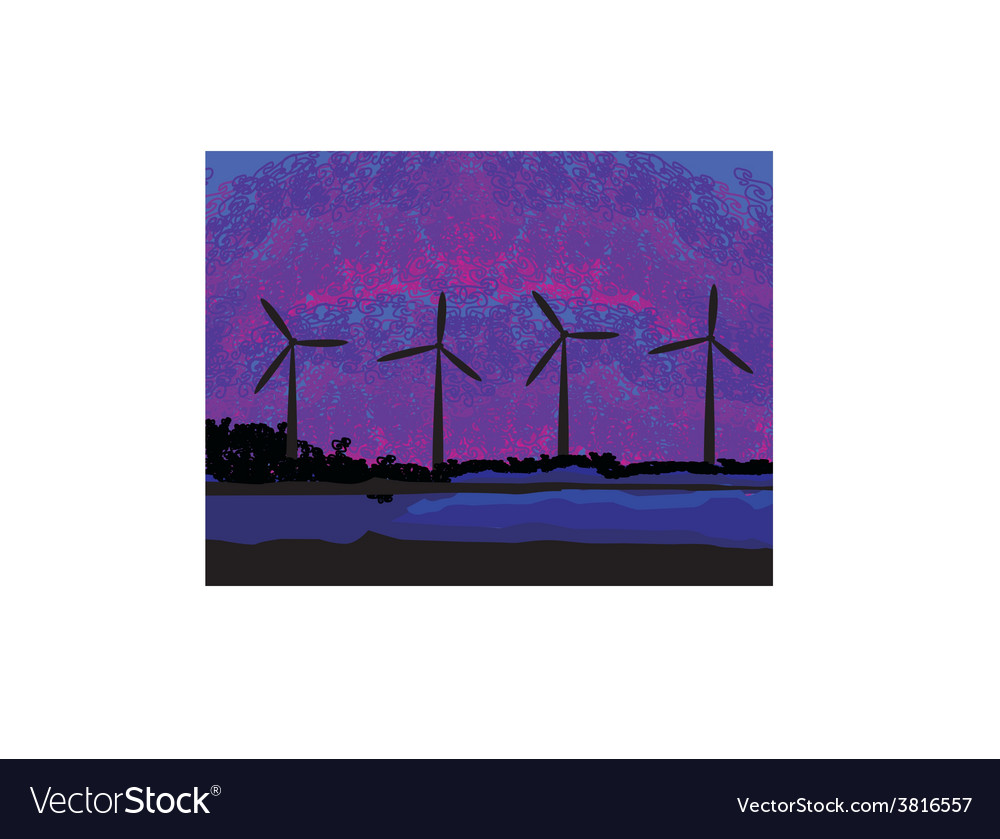 Wind turbine sunset background ecosystem for vector | Price: 1 Credit (USD $1)