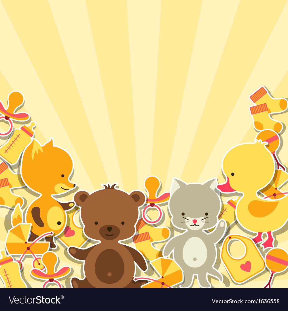 Background invitation card with little animal vector | Price: 1 Credit (USD $1)