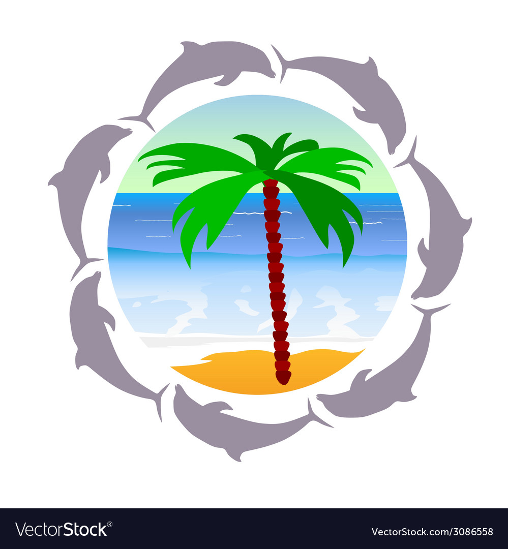 Beach paradise with palm and dolphin vector | Price: 1 Credit (USD $1)