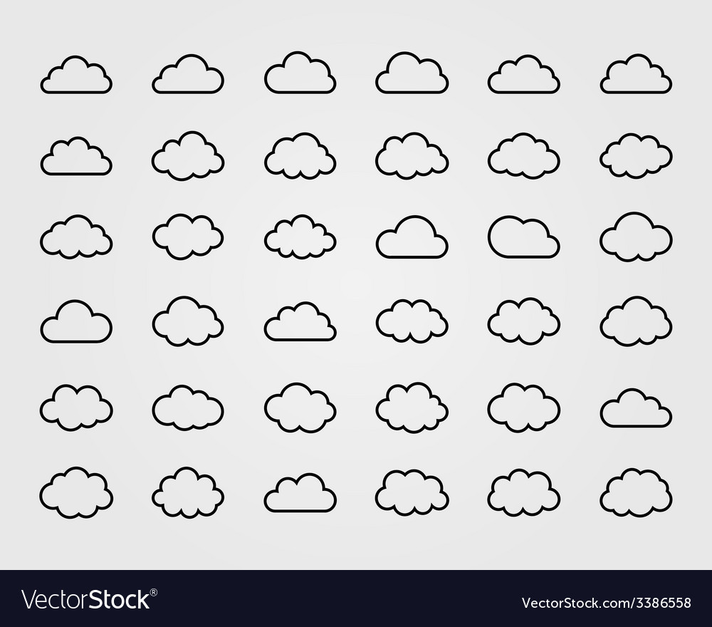 Big set of thirty-six cloud shapes vector | Price: 1 Credit (USD $1)