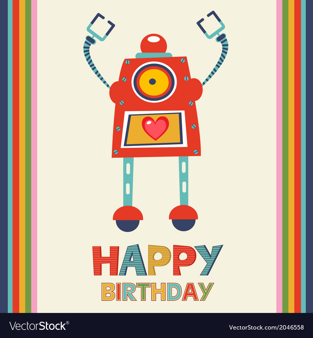Birthday card with robot vector | Price: 1 Credit (USD $1)