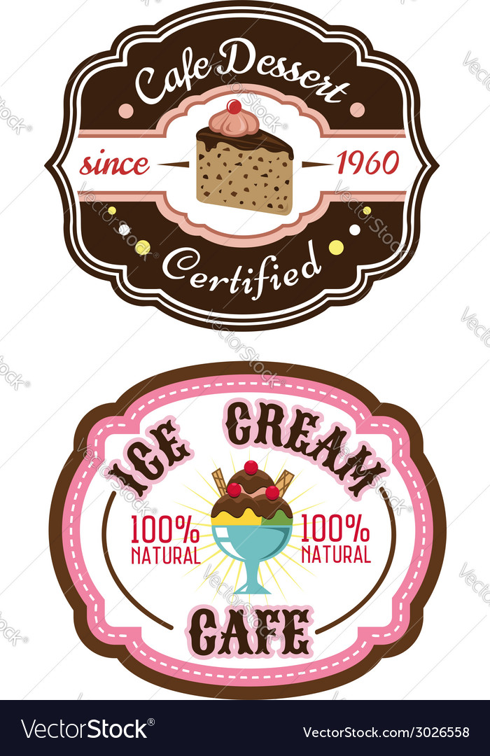 Chocolate pie and ice cream emblems vector | Price: 1 Credit (USD $1)