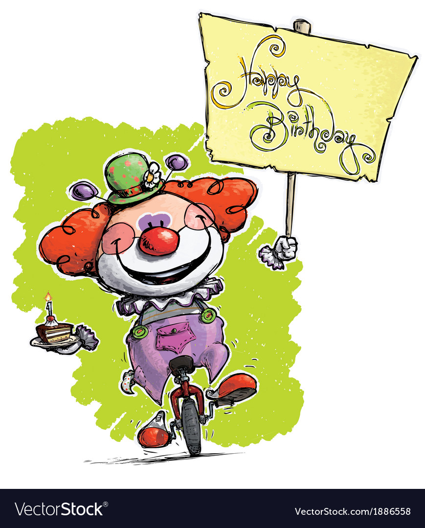 Clown on unicle hoding a happy birthday plackard vector   Price: 3 Credit (USD $3)