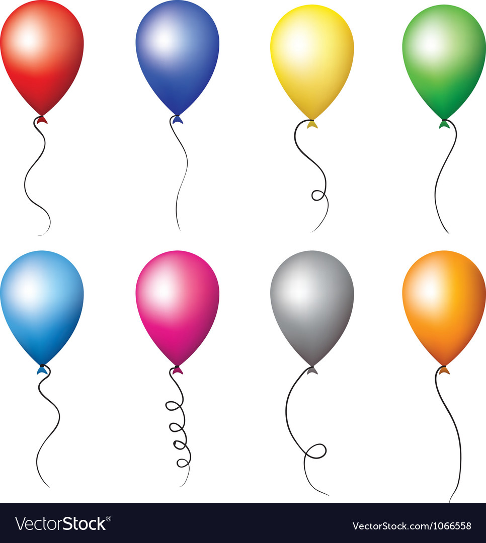 Colourful balloons set vector | Price: 1 Credit (USD $1)