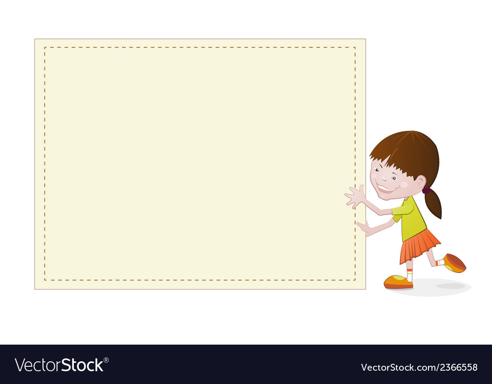 Cute girl with blank empty board vector | Price: 1 Credit (USD $1)