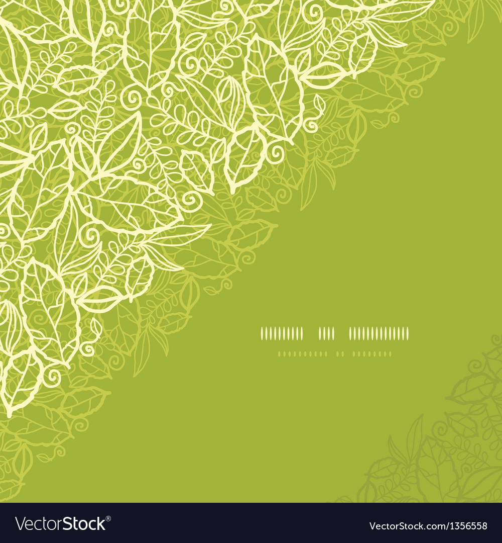 Green lace leaves corner seamless pattern vector