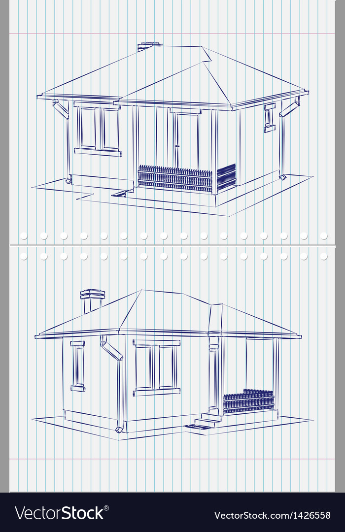 House blueprint vector | Price: 1 Credit (USD $1)