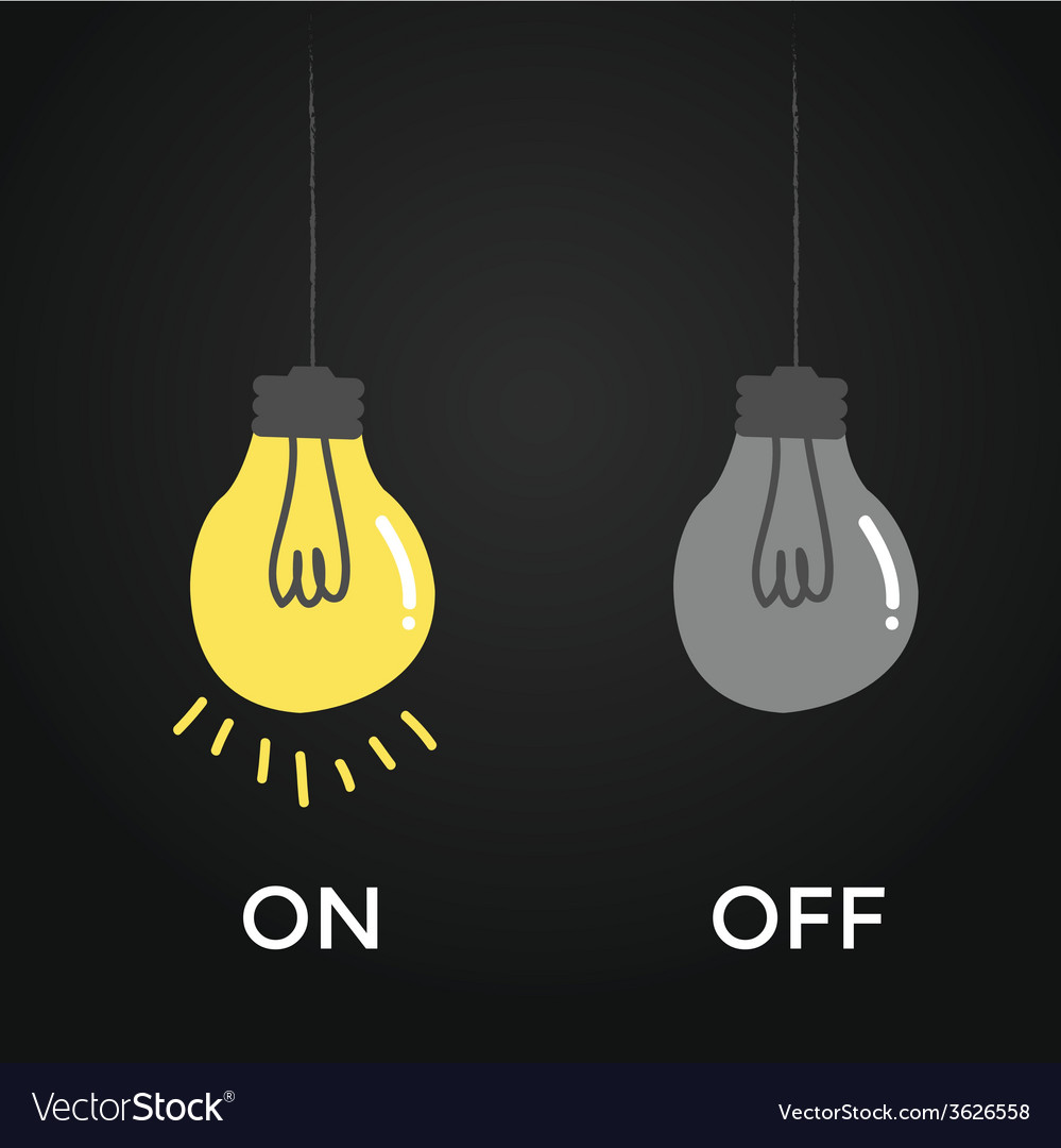 On and off bulb electric over black background vector | Price: 1 Credit (USD $1)