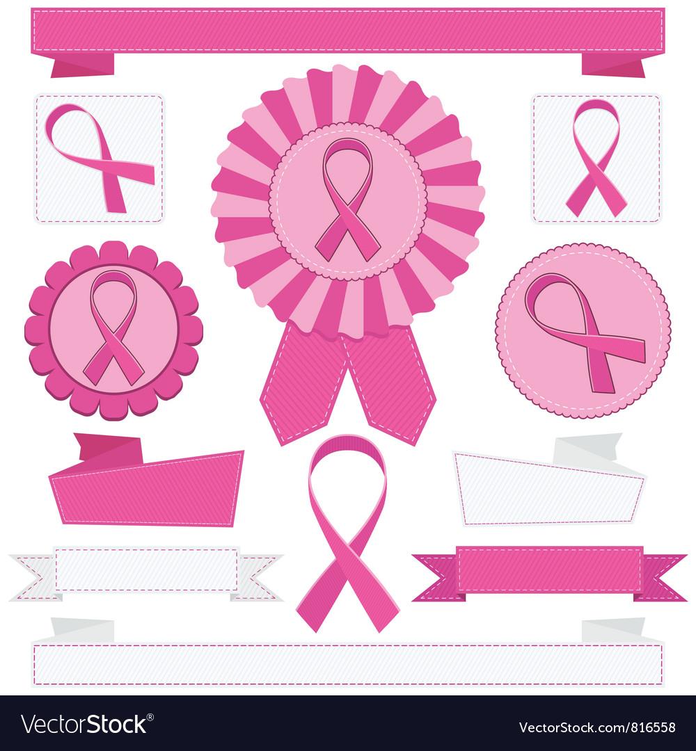 Pink awareness ribbons vector | Price: 1 Credit (USD $1)