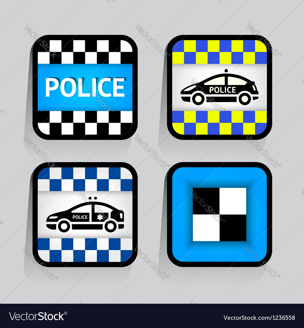 Police - set stickers square on the gray vector | Price: 1 Credit (USD $1)