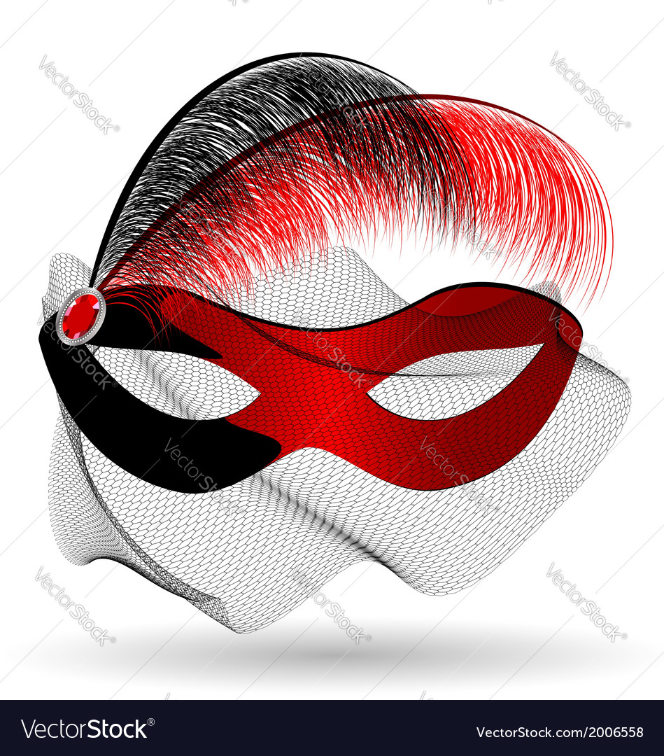 Red-black carnival half-mask and feathers vector | Price: 1 Credit (USD $1)
