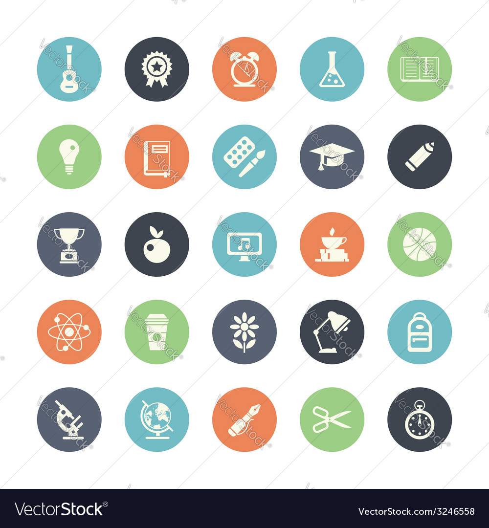 Set of flat design icons with long shadows vector | Price: 1 Credit (USD $1)