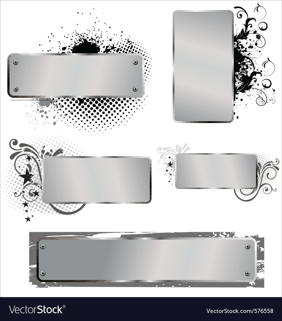 Shiny grunge aluminium banners vector | Price: 1 Credit (USD $1)