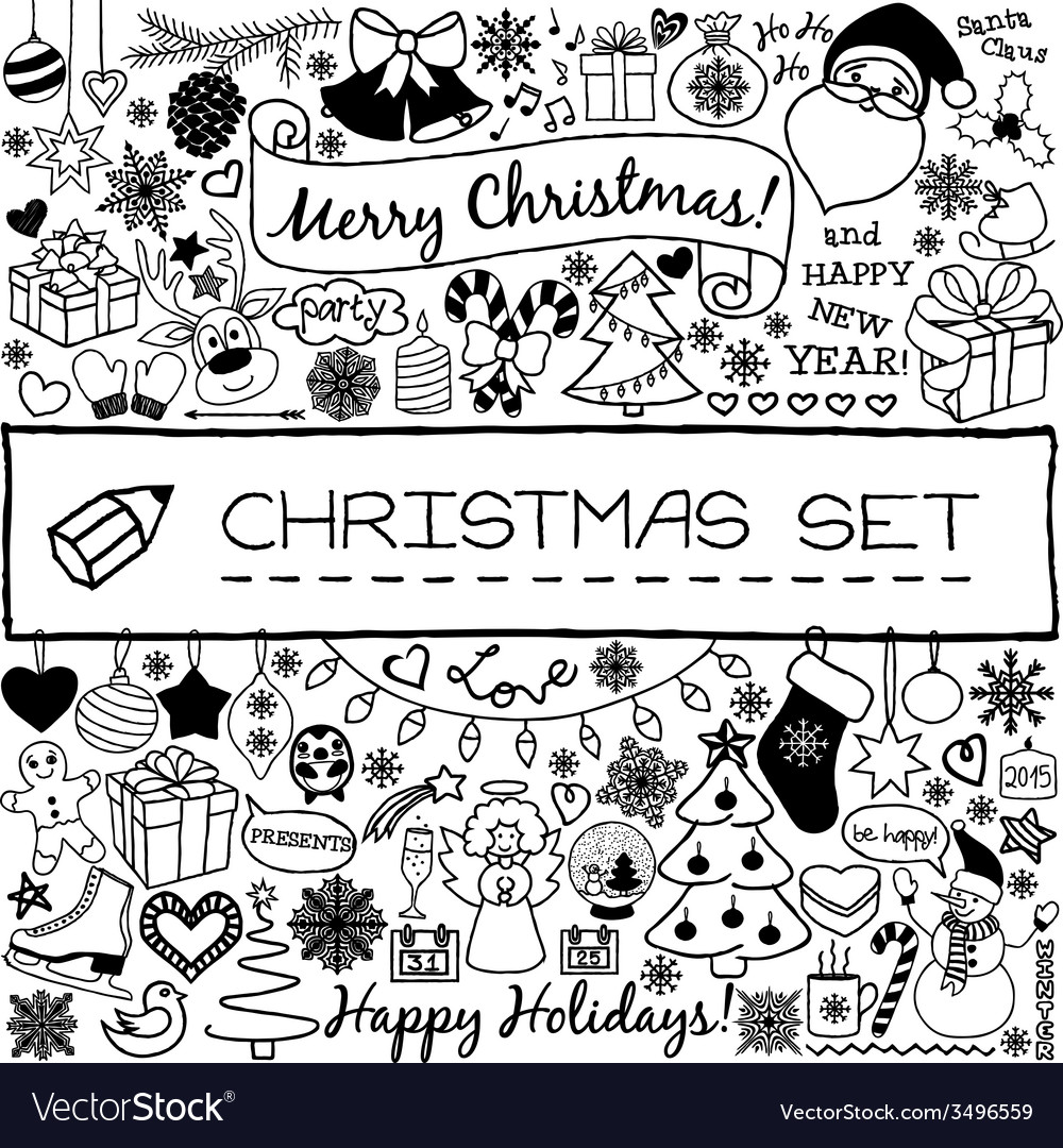 Doodle christmas season icons vector | Price: 1 Credit (USD $1)