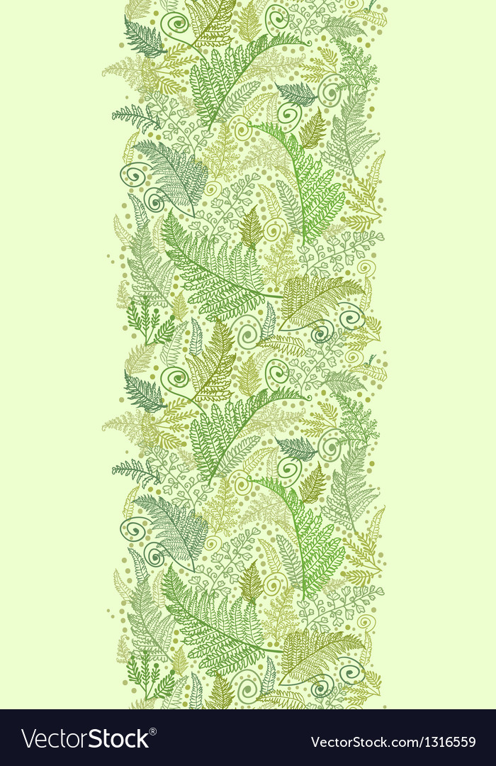 Green fern leaves vertical seamless pattern border vector | Price: 1 Credit (USD $1)