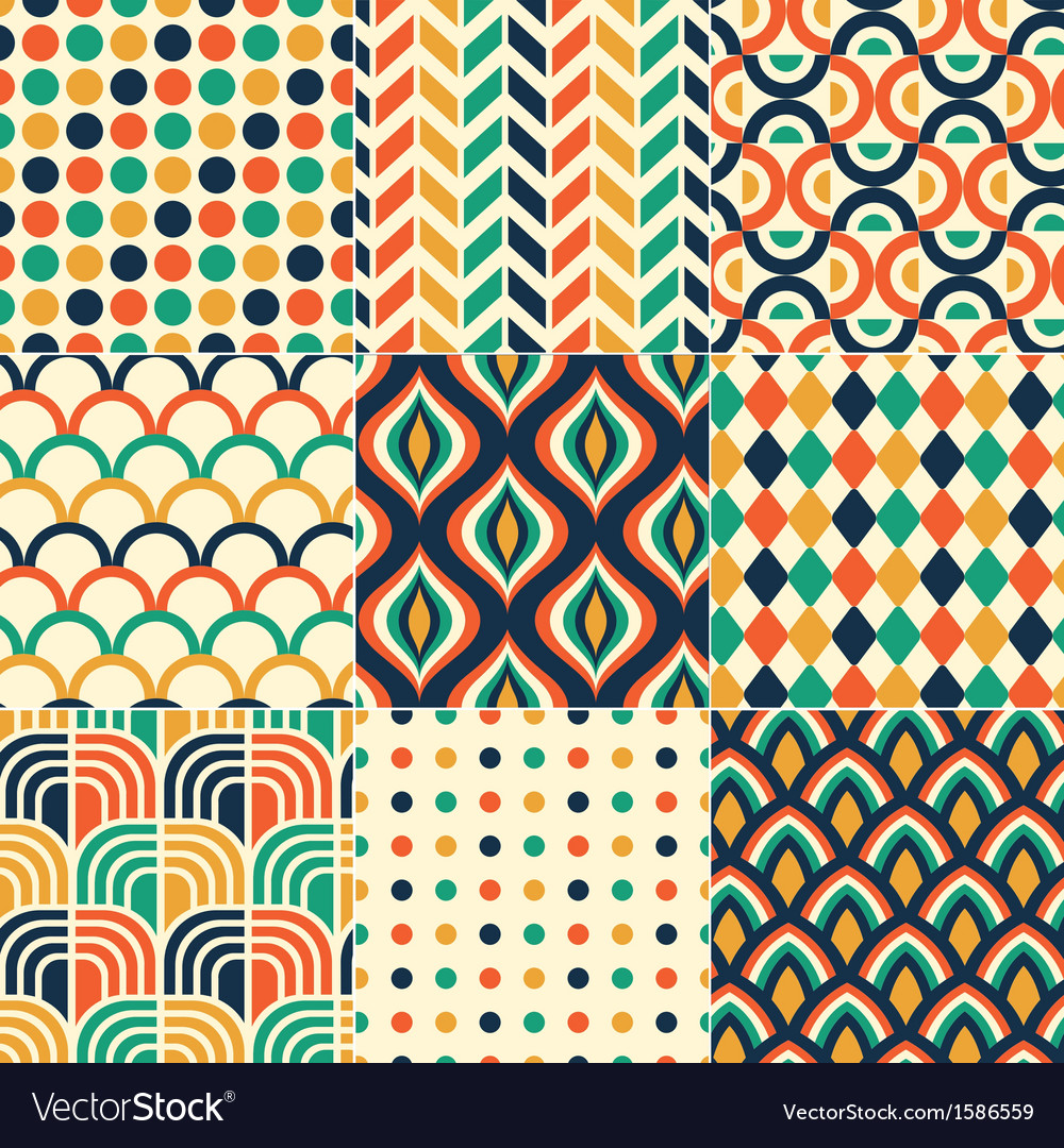 Seamless retro colorful pattern vector | Price: 1 Credit (USD $1)