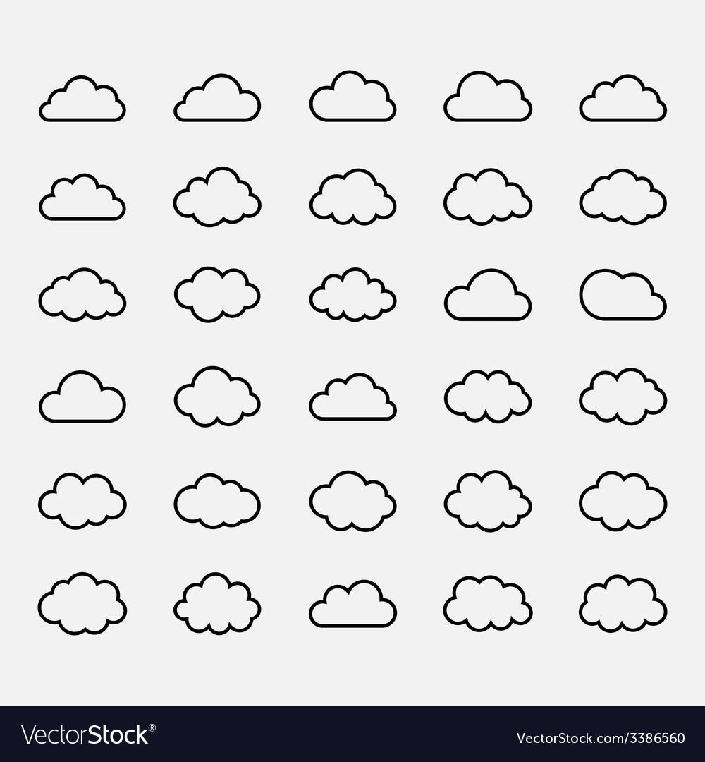 Big set black cloud shapes icons vector | Price: 1 Credit (USD $1)
