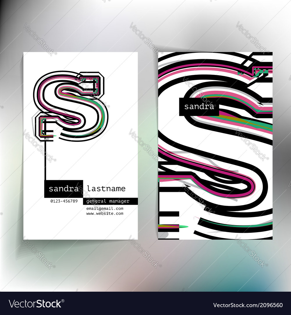 Business card design with letter s vector | Price: 1 Credit (USD $1)