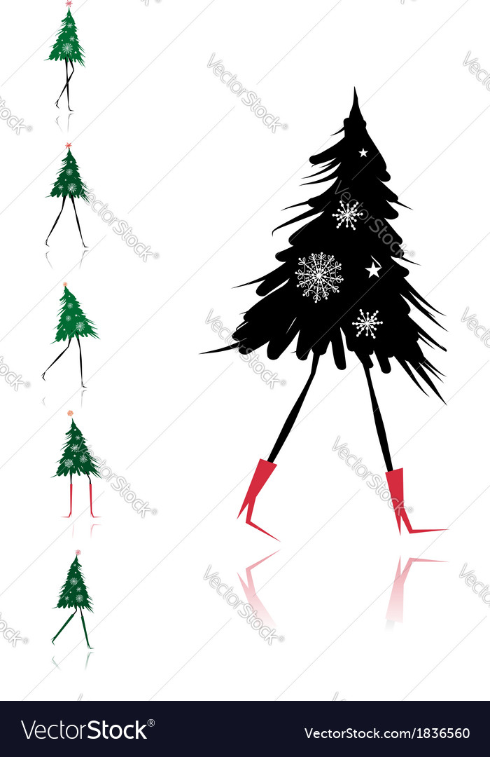 Christmas tree girl for your design vector | Price: 1 Credit (USD $1)