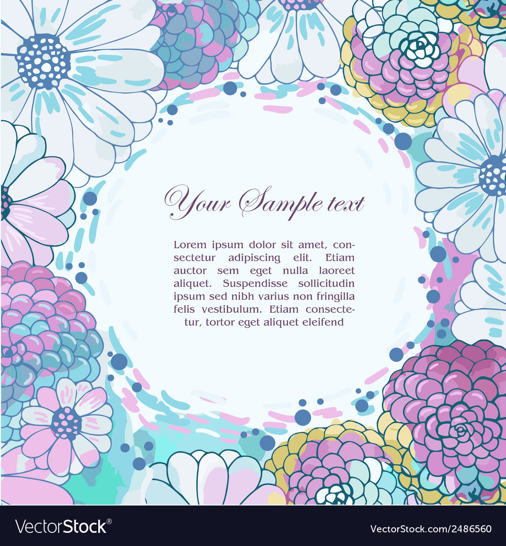Floral watercolor border vector | Price: 1 Credit (USD $1)