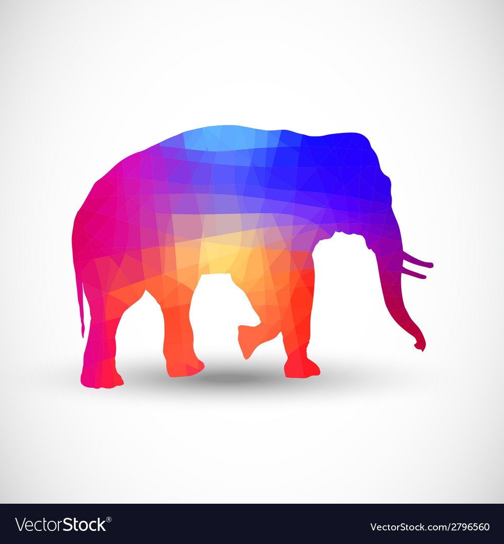 Geometric silhouettes animals elephant vector | Price: 1 Credit (USD $1)