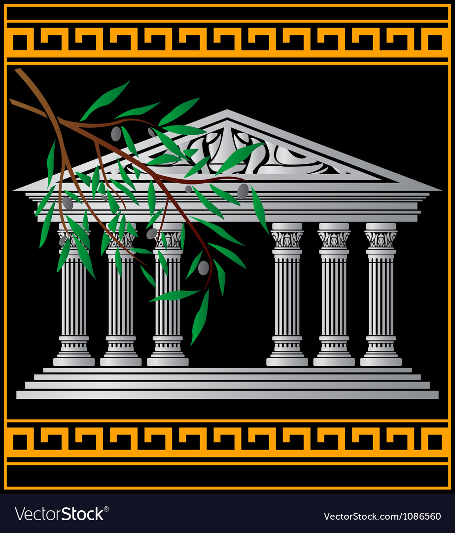 Greek temple and olive branch vector