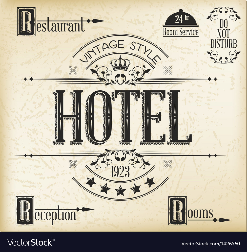 Hotel typography vector | Price: 1 Credit (USD $1)