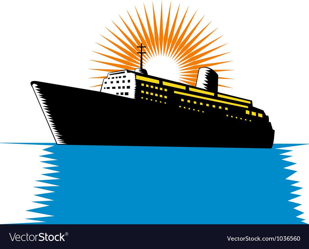 Passenger ship cargo boat retro vector   Price: 1 Credit (USD $1)