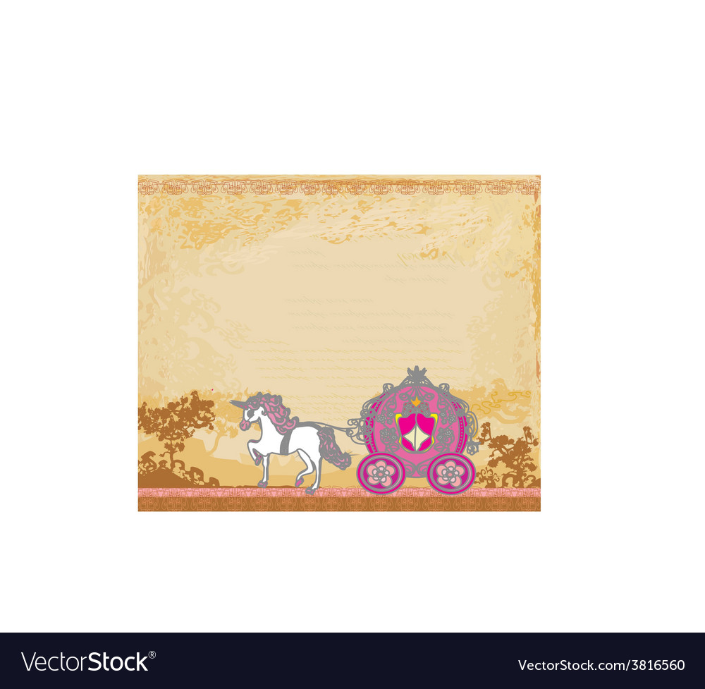 Royal carriage with horse on the grunge background vector | Price: 1 Credit (USD $1)