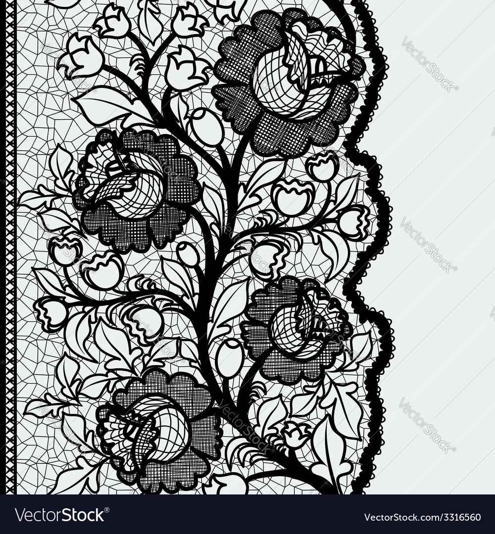Seamless vertical lace ribbon with unusual floral vector | Price: 1 Credit (USD $1)