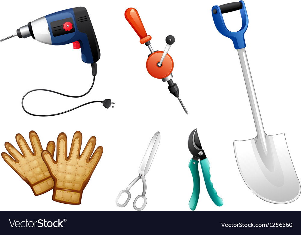 Six different kinds of construction tools vector | Price: 1 Credit (USD $1)