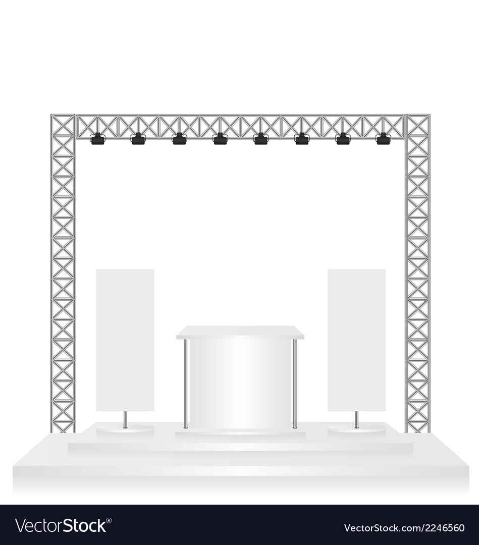 Trade exhibition stand and flags on white vector | Price: 1 Credit (USD $1)