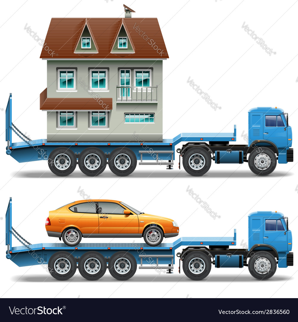 Trailer with house and car vector | Price: 1 Credit (USD $1)