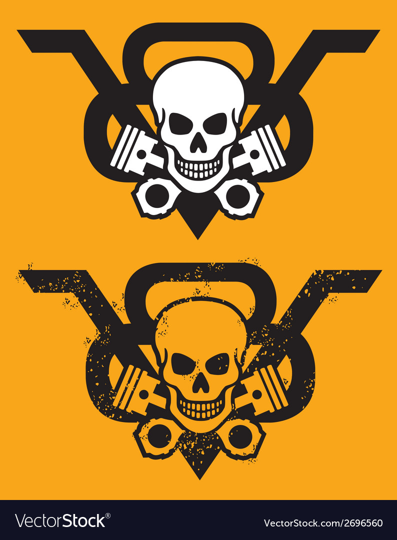V8 engine emblem with skull and pistons vector | Price: 1 Credit (USD $1)