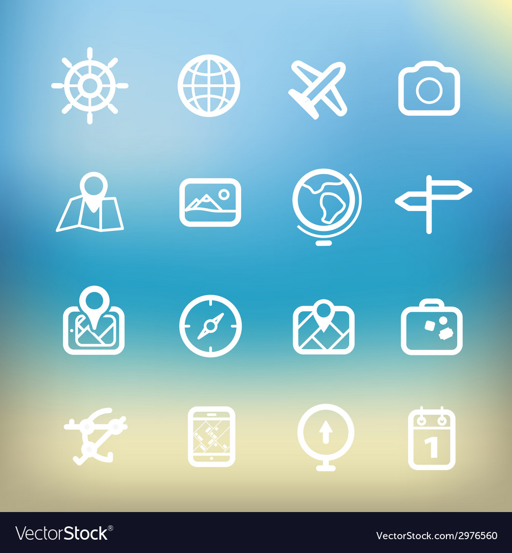 White vacation icons clip-art on color background vector | Price: 1 Credit (USD $1)