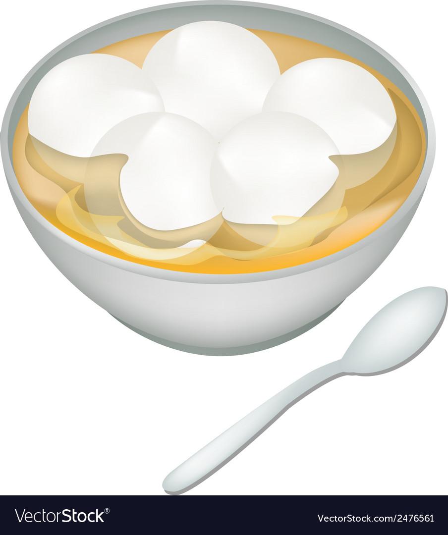 A bowl of sweet dumplings in ginger tea vector | Price: 1 Credit (USD $1)