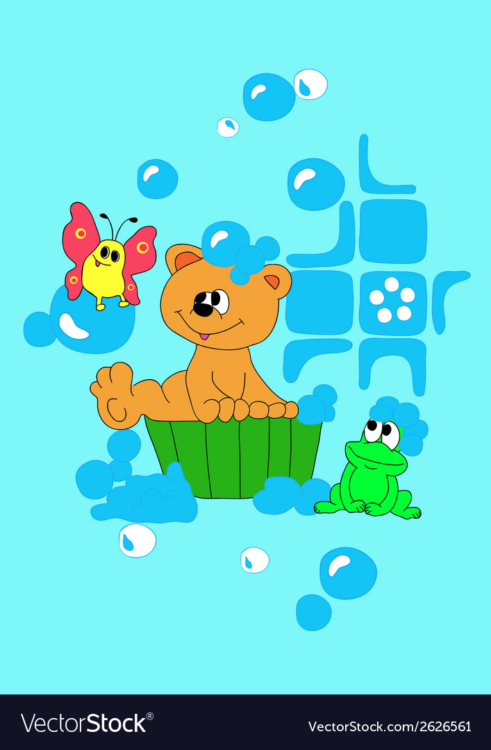 Bear is bathing in basin vector | Price: 1 Credit (USD $1)