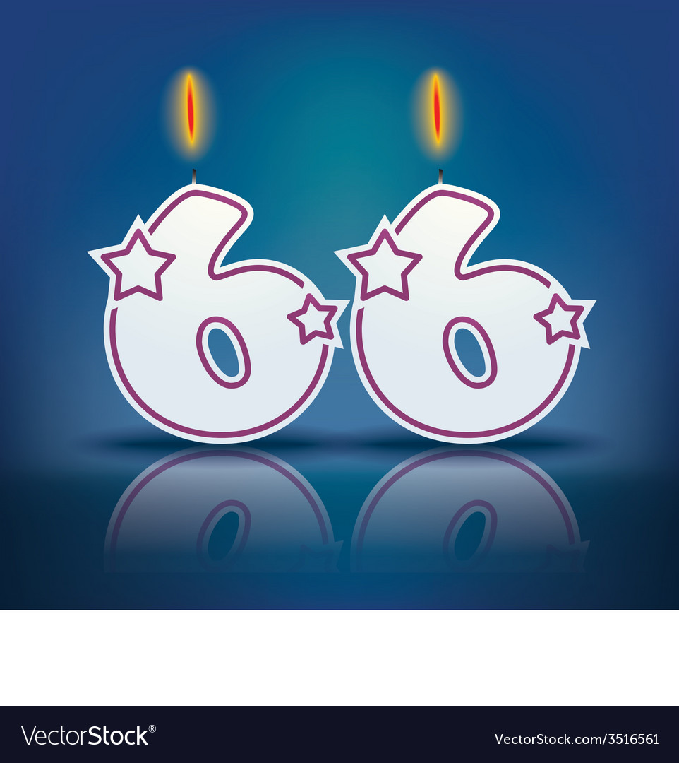 Birthday candle number 66 vector | Price: 1 Credit (USD $1)