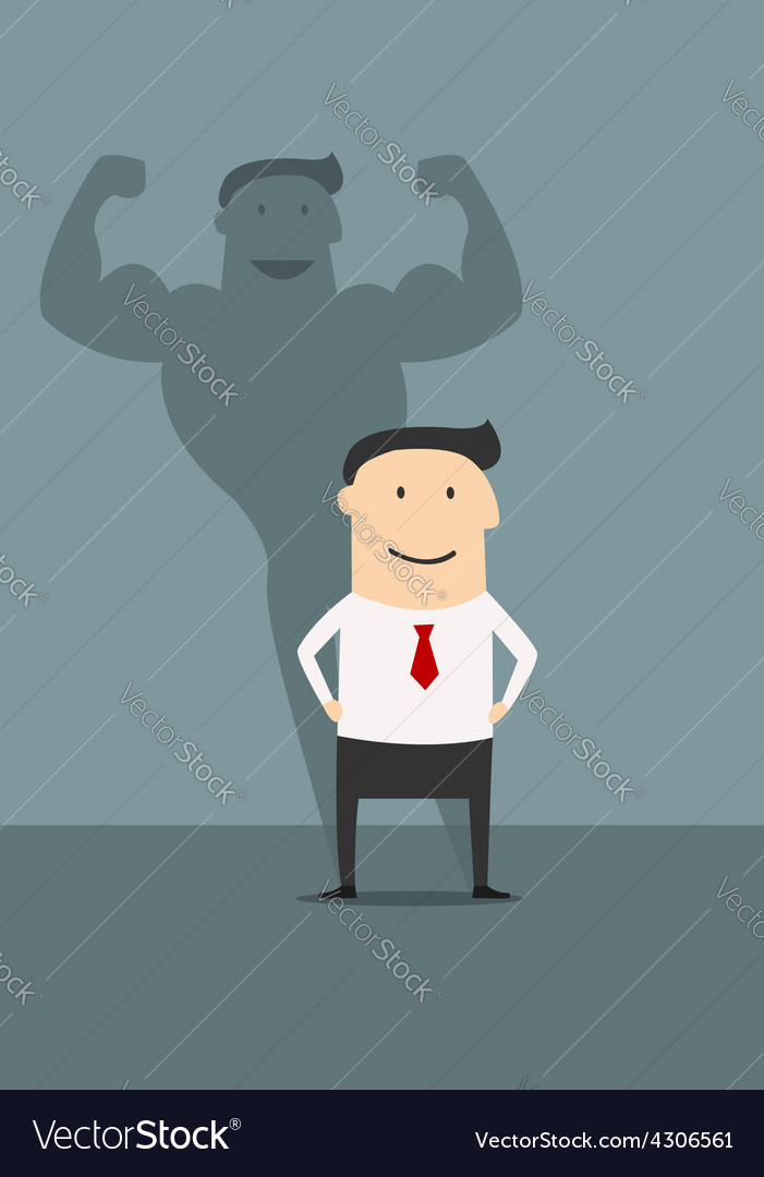 Businessman with powerfull muscular shadow vector | Price: 1 Credit (USD $1)