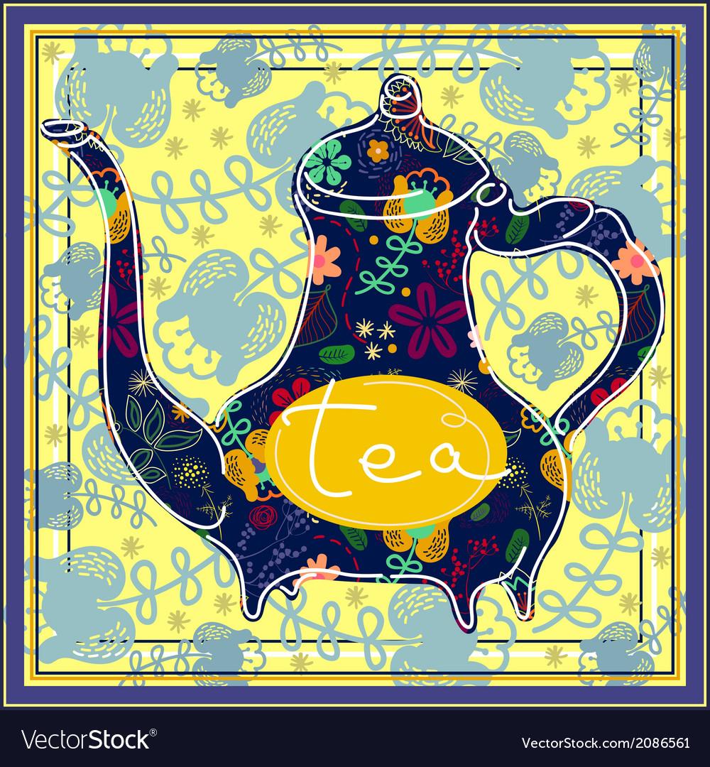 Floral designed tea pot  tea time vector   Price: 1 Credit (USD $1)