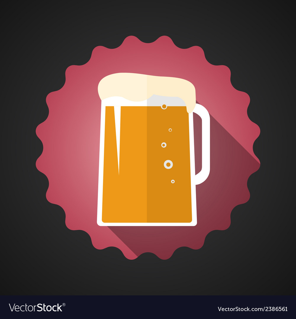 Glass of beer flat long shadow icon vector | Price: 1 Credit (USD $1)
