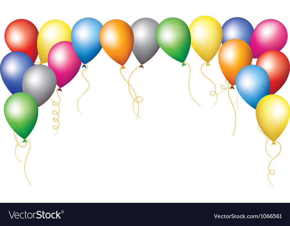Holiday border of colourfull balloons vector | Price: 1 Credit (USD $1)