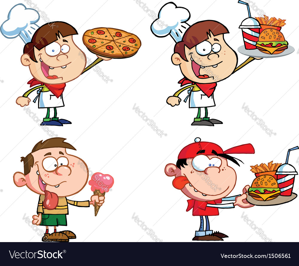 Kids with fast food- collection vector | Price: 3 Credit (USD $3)